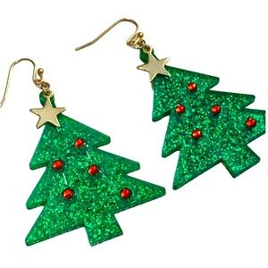 Decorated Christmas Tree Sparkly Dangling Earrings